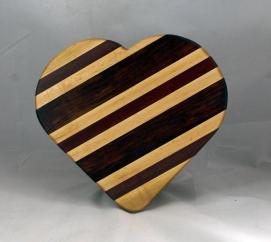 "Heart 16 - 03. Hard Maple, Bloodwood & Purpleheart. 11"" x 12"" x 3/4."