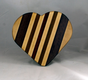 """Heart 16 - 04. Hard Maple, Purpleheart, Jatoba & Bloodwood. 11"""" x 12"""" x 3/4""""."""