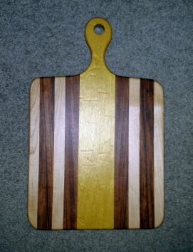 """Small Sous Chef 16 - 022. Hard Maple, Goncalo Alves & Quilted Yellowheart. 9"""" x 16"""" x 3/4""""."""