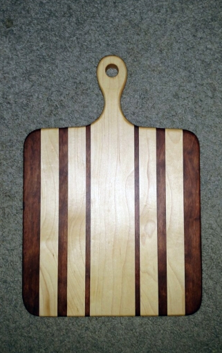 """Small Sous Chef 16 - 025. Bloodwood & Hard Maple. 9"""" x 16"""" x 3/4""""."""
