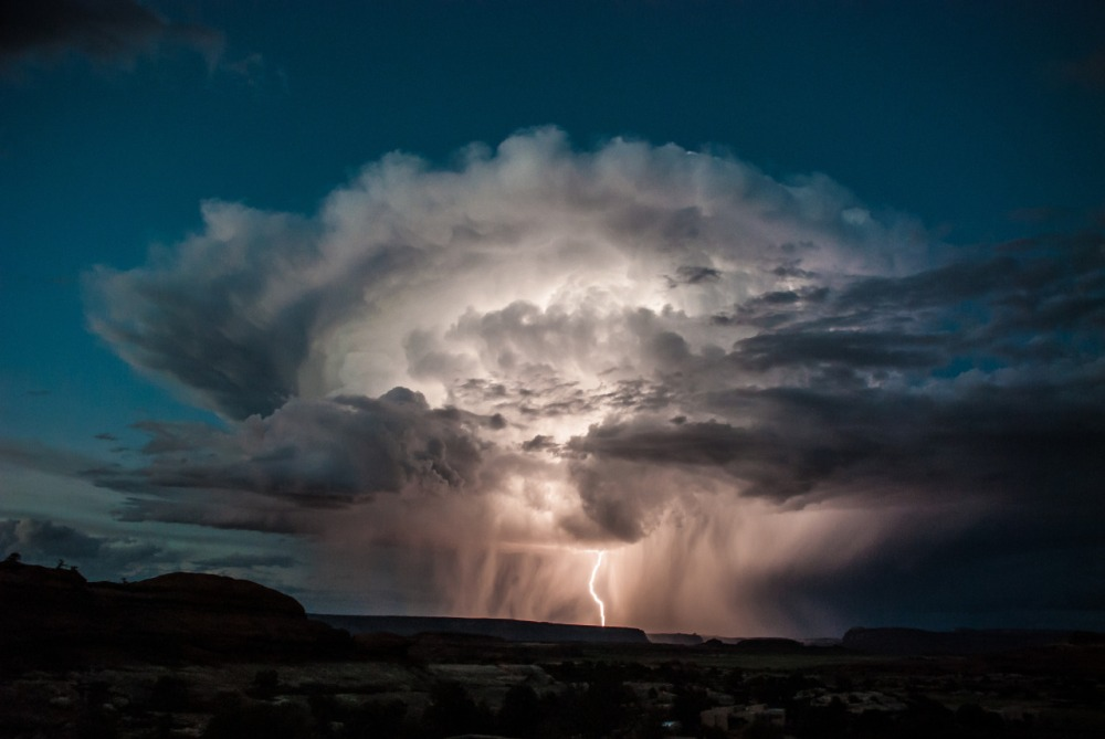 Mother Nature shows her power with this dramatic lightning storm over the Needles District at Canyonlands National Park in Utah. Photo by Claudia Castillo. Posted on Tumblr by the US Department of the Interior, 12/31/16.