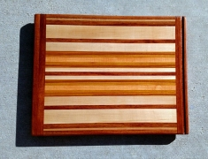 "Cutting Board 17 - 101. Jatoba, Hard Maple, Cherry & Canarywood. Edge Grain with Bread Board Ends. In-counter replacement, commissioned piece. 16"" x 21"" x 3/4""."
