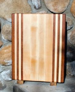 """Cutting Board 17 - 102. Jatoba & Hard Maple. Edge Grain. 12"""" x 16"""" x 1-1/4""""."""