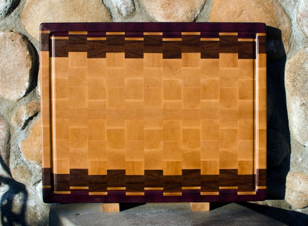 "Cutting Board 17 - 401. Purpleheart, Jatoba & Hard Maple. Edge Grain, Juice Groove. 16"" x 20"" x 1-1/2"". Commissioned Piece."