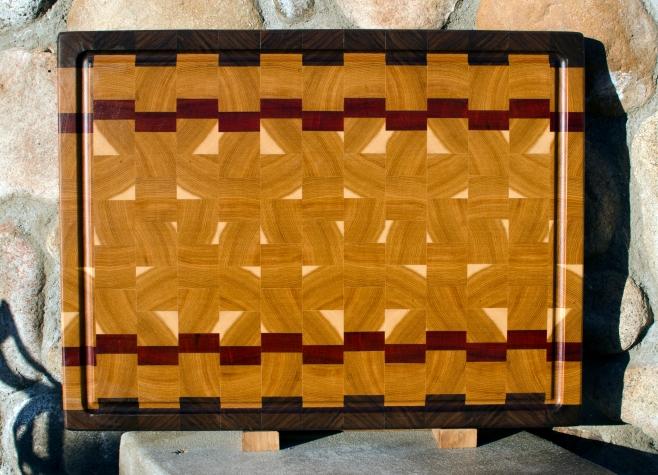 "Cutting Board 17 - 402. Black Walnut, Hickory & Bloodwood. End Grain, Juice Groove. 16"" x 21"" x 1-1/2""."