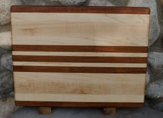 "Engraved 16 - 46. Jatoba & Hard Maple. edge grain. 12"" x 16"" x 1-1/4""."