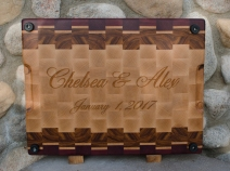 Engraving detail on back of board.