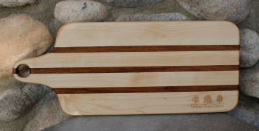 """Engraved 16 - 50. Bread board made for Urban Tree Care. Hard Maple and Jatoba. 8"""" x 20"""" x 1""""."""