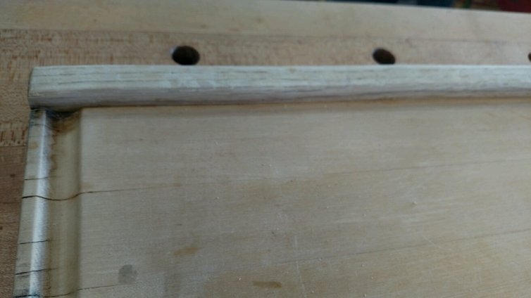 For some reason, the bread hook for this large board was made of red oak, but the work surface was maple. No clue why a different species was used ... probably just what the craftsman had.