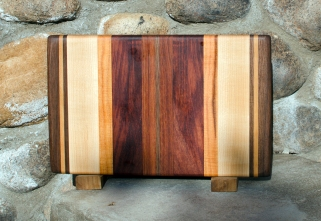 "Small Board 17 - 201. Black Walnut, Cherry, Hard Maple, Honey Locust, Bubinga & Jatoba. 8"" x 12"" x 3/4""."