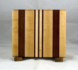 "Small Board 17 - 210. Hard Maple, Purpleheart, Padauk & Jatoba. 9-1/4"" x 10-1/2"" x 3/4""."