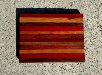 "Cheese Board 17 - 320. Padauk, Cherry, Black Walnut & Jatoba. Chaos Board. 8-1/2"" x 11"" x 5/8""."