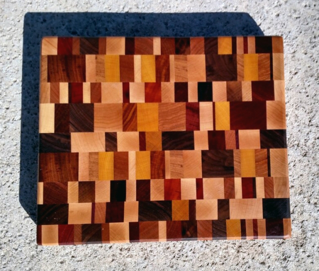 "Cutting Board 17 - 415. Oak, Hickory, Hard Maple, Jatoba, Padauk, Bloodwood, Canarywood, Goncalo Alves, Yellowheart & Black Walnut. End Grain. Chaos Board. 11"" x 13"" x 1-1/4""."