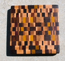 "Cutting Board 17 - 416. Hard Maple, Cherry, Jatoba, Padauk, Yellowheart, Hickory, Goncalo Alves & Black Walnut. Chaos Board, End Grain. 13"" x 13"" x 1-1/4""."