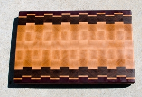 "Cutting Board 17 - 417. Purpleheart, Hard Maple & Jatoba. End Grain. 14"" x 21-1/2"" x 1-1/2""."