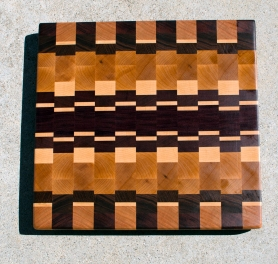 "Cutting Board 17 - 418. Hard Maple, Jatoba, Purpleheart, Padauk & Black Walnut. End Grain. 14-1/4"" X 15"" X 1-1/8""."