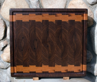 "Cutting Board 17 - 422. Black Walnut & Cherry. End Grain, Juice Groove. 18"" x 20"" x 1-1/2"". Commissioned Piece."