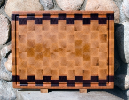"Cutting Board 17 - 423. Hard Maple & Purpleheart. End Grain, Juice Groove. 16"" x 21-1/2"" x 1-1/2""."