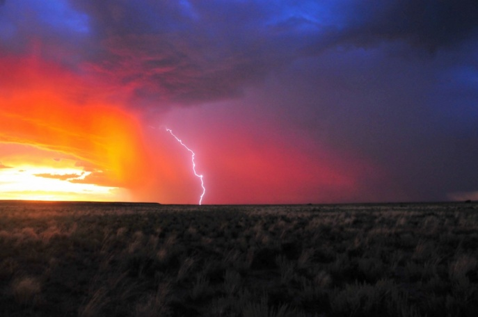 Lightning strikes the Seedskadee National Wildlife Refuge. Photo by Tom Koerner, U.S. Fish and Wildlife Service. From the blog of the US Department of the Interior.