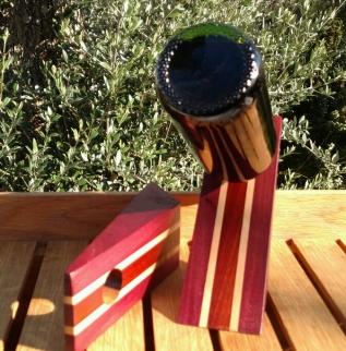 Wine Bottle Holder 17 - 04. Purpleheart, Hard Maple & Bloodwood.
