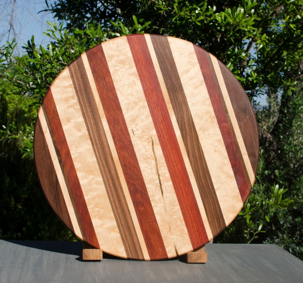 "Lazy Susan 17 - 10. Black Walnut, Birdseye Maple & Bloodwood. 18"" diameter."