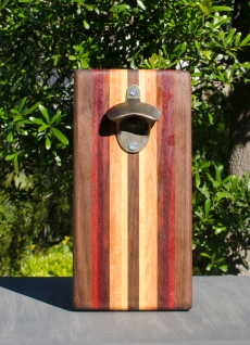 Magic Bottle Opener 17 - 625. Black Walnut, Paduak, Bubinga, Canarywood, Honey Locust & Yellowheart. Double Magic.