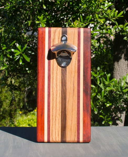 Magic Bottle Opener 17 - 909. Padauk, Hard Maple, Purpleheart, Red Oak & Black Walnut. Single Magic.