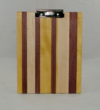 Clipboard 17 - 003. Hard Maple, Yellowheart & Purpleheart. Chaos design. Letter size. Polyurethane finish.