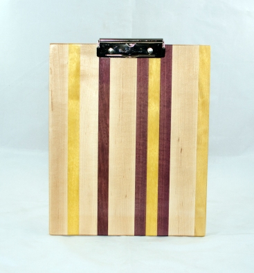 Clipboard 17 - 004. Hard Maple, Yellowheart & Purpleheart. Chaos design. Letter size. Polyurethane finish.
