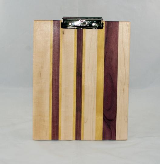 Clipboard 17 - 005. Hard Maple, Yellowheart & Purpleheart. Chaos design. Letter size. Polyurethane finish.