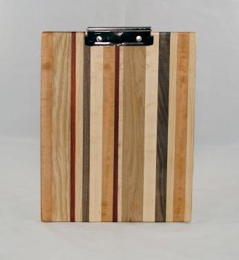 Clipboard 17 - 007. Cherry, Red Oak, Padauk, Black Walnut & Hard Maple. Chaos design. Letter size. Polyurethane finish.