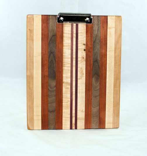 Clipboard 17 - 009. Cherry, Hard Maple, Padauk, Black Walnut & Purpleheart. Letter size. Polyurethane finish.