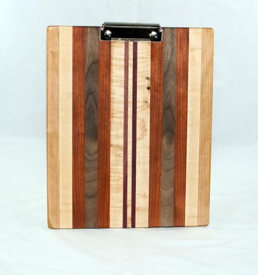 Clipboard 17 - 009. Cherry, Hard Maple, Padauk, Black Walnut & Purpleheart. Letter size. Polyurethane finish.