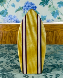 "Small Surfboard 17 - 503. Yellowheart, Purpleheart & Hard Maple. 7"" x 16"" x 3/4""."