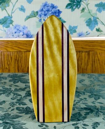 "Small Surfboard 17 - 503. Yellowheart, Purpleheart & Hard Maple. 7"" x 16"" x 3/4""."