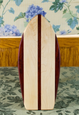 "Small Surfboard 17 - 505. Padauk & Hard Maple. 7"" x 16"" x 3/4""."