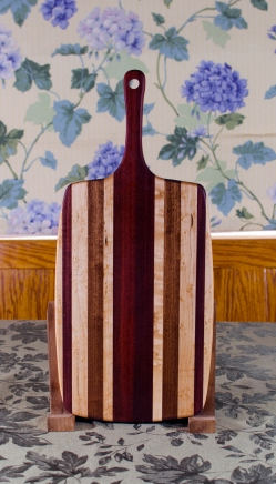"""Sous Chef 17 - 914. Birdseye Maple, Jatoba, Purpleheart & Bloodwood. Large size, with the work space approximately 10"""" x 15"""", with the handle extending for an additional 6""""."""