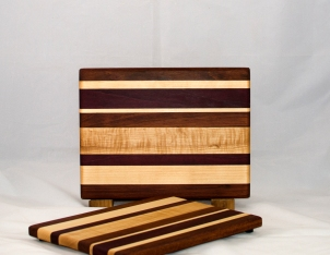 "Cheese Board 17 - 326. Jatoba, Hard Maple & Purpleheart. Chaos board. 8"" x 11"" x 3/4""."