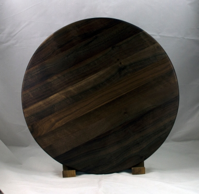 "Lazy Susan 17 - 15. Black Walnut. 17"" diameter."