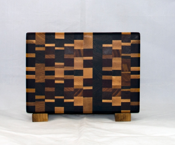 "Small Board 17 - 229. Chaos board. End grain. 7"" x 11"" x 1""."