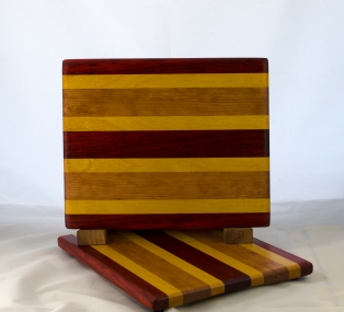 "Cheese Board 17 - 332. Padauk, Yellowheart & Cherry. 8"" x 11"" x 5/8""."