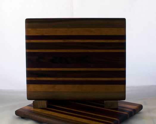 "Black Walnut, Cherry, Purpleheart & Bloodwood. 8"" x 11"" x 5/8""."