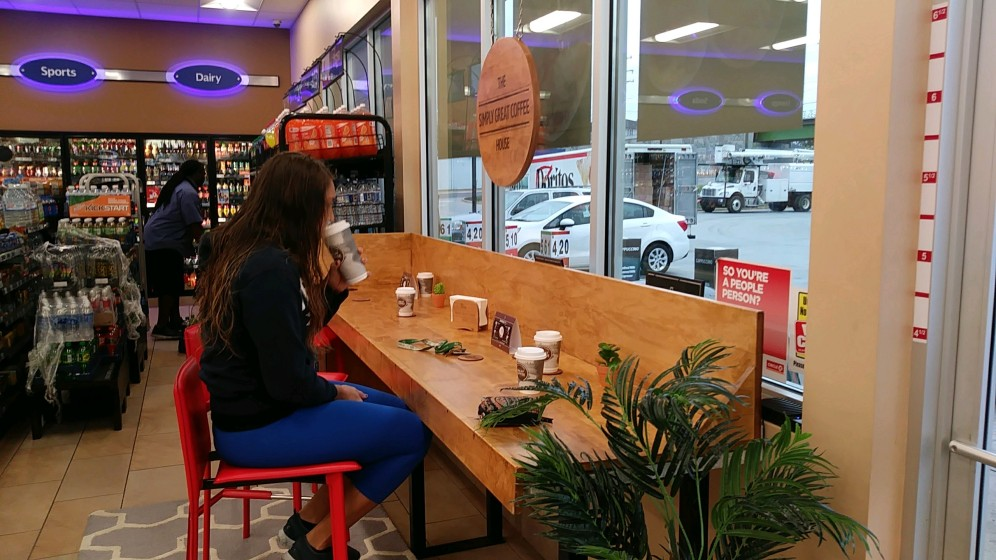 My customer's customer's customer's customer seems to be enjoying a quiet moment with her Simply Great Coffee!