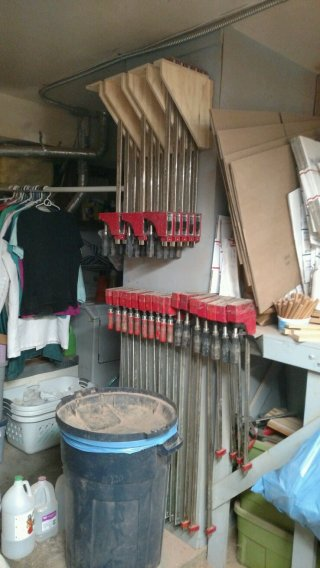 The top clamp storage rack was added to my original rack, behind the trash can, so solve almost all of my clamp storage needs. That's great ... I now enough clamps to do 13 simultaneous sets of glue-ups, which is about right for my shop.