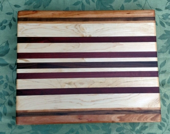 "Cutting Board 17 - 124. Edge grain. Cherry, Black Walnut, Hard Maple, Jatoba, Purpleheart & Pau Ferro. 14"" x 18"" x 1-1/4""."