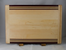 """Cutting Board 17 - 128. In-counter board replacement. Hard Maple, Purpleheart, & Jatoba. 14"""" x 20"""" x 3/4"""". Commissioned piece."""