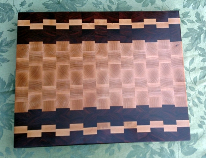 "Cutting Board 17 - 430. End grain. Bubinga, Hard Maple and Pau Ferro. 16-1/2"" x 21-1/2"" x 1-1/2""."