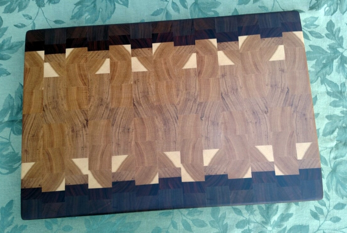 "Cutting Board 17 - 431. End grain. Black Walnut, Pau Ferro & Hickory. 14"" x 20"" x 1-1/2""."