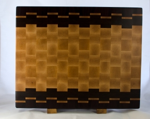 "Engraved 17 - 026. Purpleheart, Hard Maple & Jatoba. 16"" x 20"" x 1-1/2"". End grain. Commissioned piece."