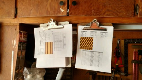 Above the workbench hang my plans for upcoming boards. Most of the things I make start on these clipboards.